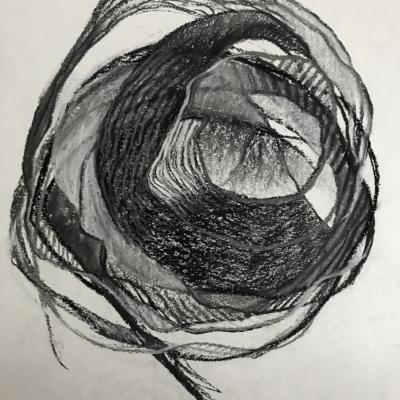 A Big Loop, Charcoal, 24 x 18