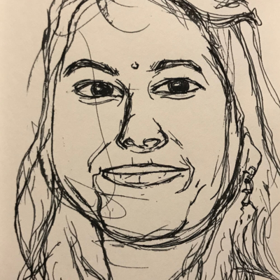 A Pleasing Smile, Ink Drawing, 8.5 x 5.5