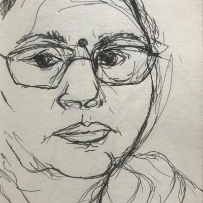 A Tender Look, Ink Drawing, 8.5 x 5.5