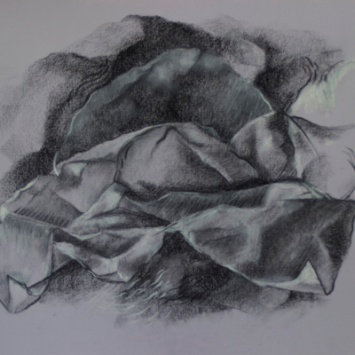Cascading, Charcoal, 18 x 24