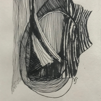 Chopped, Ink Drawing, 8.5 x 5.5