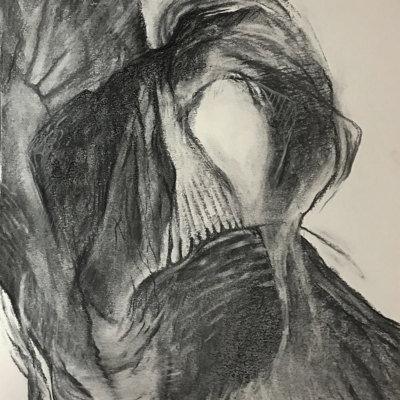 Crevices, Charcoal, 24 x 18