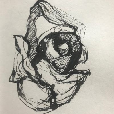 In The Flow, Ink Drawing, 8.5 x 5.5
