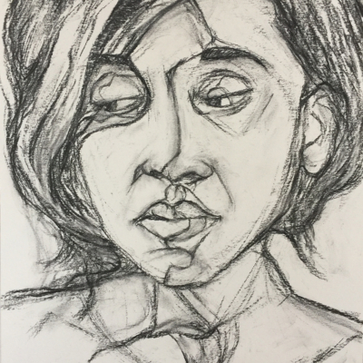 In deep Thought, Charcoal, 24 x 18