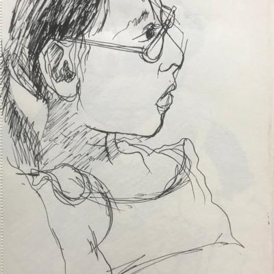 Innocent Look, Ink Drawing, 8.5 x 5.5