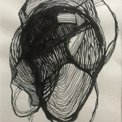 Interwoven, Ink Drawing, 8.5 x 5.5
