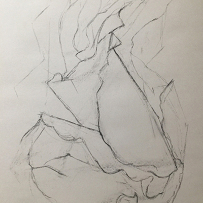 Leaning Over, Charcoal, 24 x 18