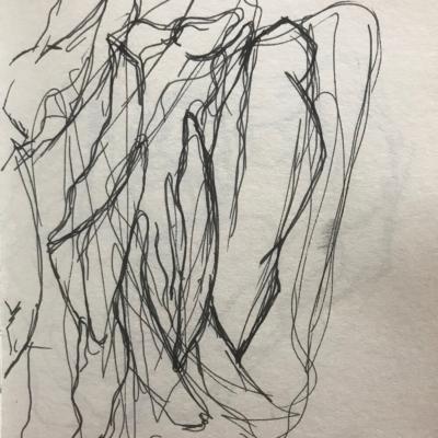 Moving Forward, Ink Drawing, 8.5 x 5.5