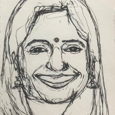Pretty Lady, Ink Drawing, 8.5 x 5.5
