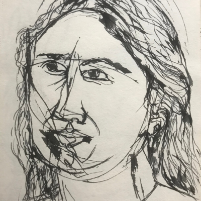 Self Reflection, Ink Drawing, 8.5 x 5.5