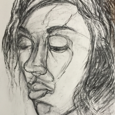 Somber Moment, Charcoal, 24 x 18