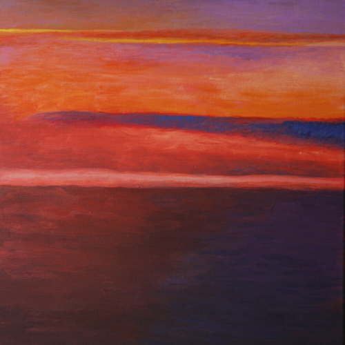 Sunrise from Airplane, Acrylic, 24 x 18