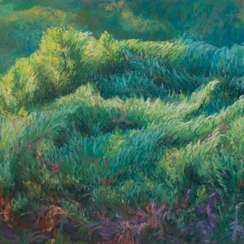 Swirling Junipers, Soft Pastel, 18 x 24