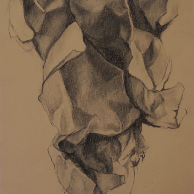 Unravelling, Charcoal, 24 x 18
