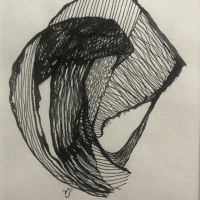 Wave, Ink Drawing, 8.5 x 5.5
