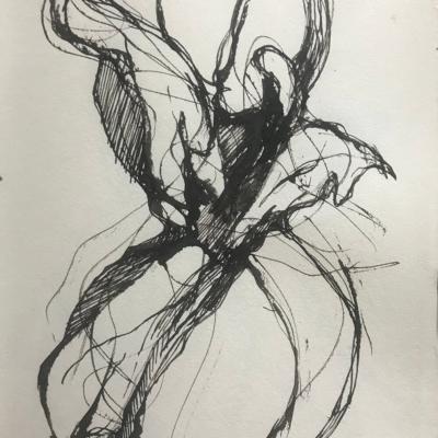 Held by Strings, Ink Drawing, 8.5 x 5.5