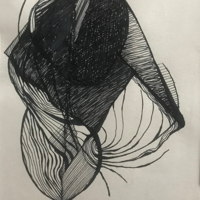 Structured, Ink Drawing, 8.5 x 5.5